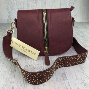 Madison West Wine Embellished Crossbody Bag NEW
